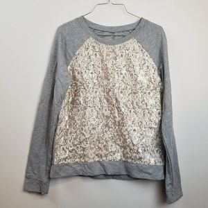 LOFT gray lace sequenced front long sleeve top